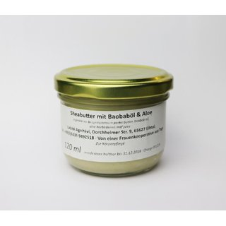 Sheabutter mit Aloe & Baobaböl 120 ml